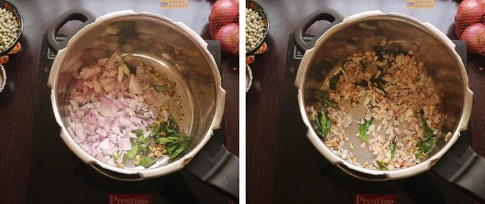 fry till transparent - peas potato masala