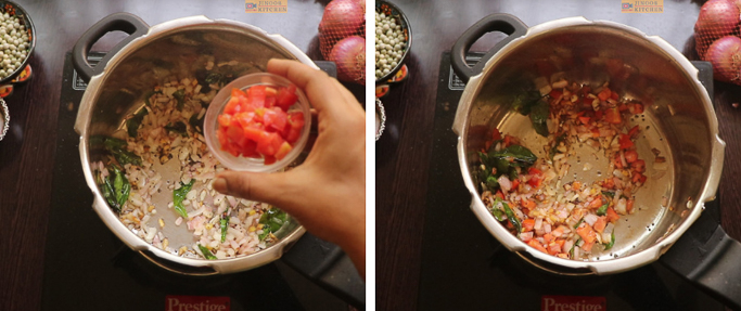 fry tomatoes - peas potato masala
