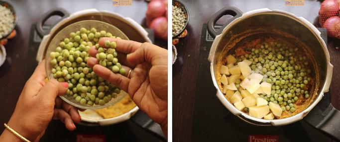 soaked peas, potato and salt- peas potato masala