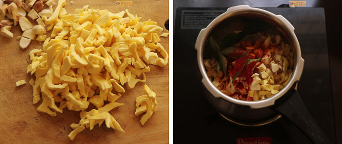 chop jackfruit chakka mulakushyam recipe