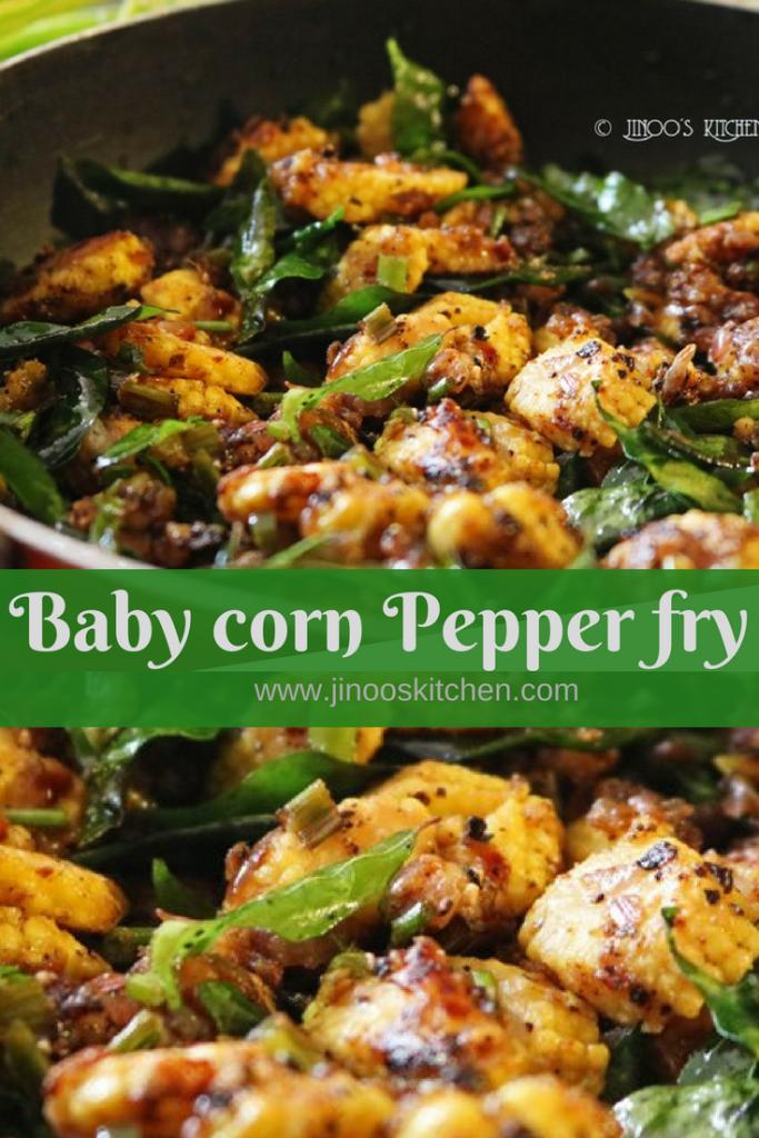 Baby corn pepper fry recipe pin