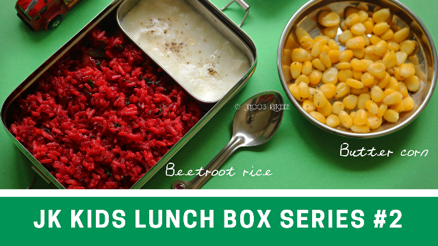 Kids lunch box recipes # 2 Butter corn and Beetroot ghee rice