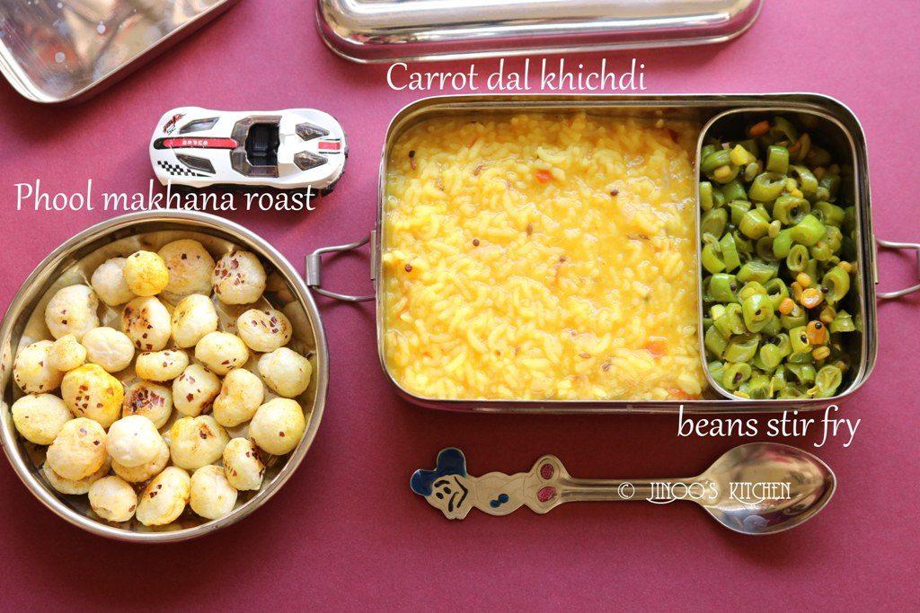 Kids lunch box recipes # 4 phool makhana and carrot dal khichdi,beans poriyal
