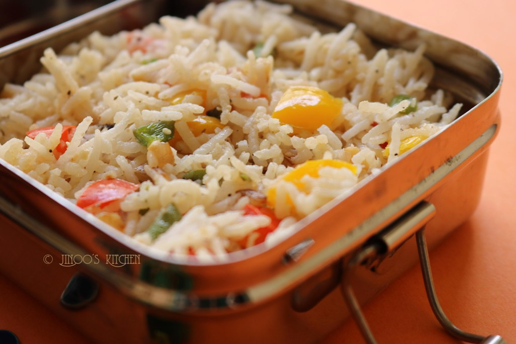 Kids lunch box recipes # 5 Nuts and Capsicum rice recipe for kids