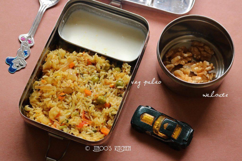 Kids lunch box recipes # 8 veg pulao and walnuts