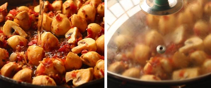 close cook - mushroom egg masala