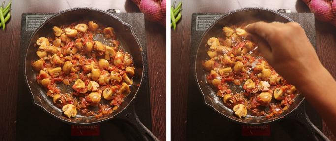 add salt - mushroom egg masala