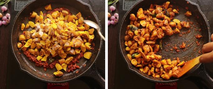 add cooked seeds _ chakkakuru mezhukkupuratti