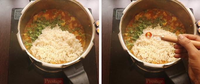 soaked rice. pressure cooker biryani recipe