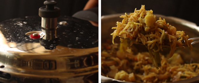 pressure cook and fluff. pressure cooker biryani recipe