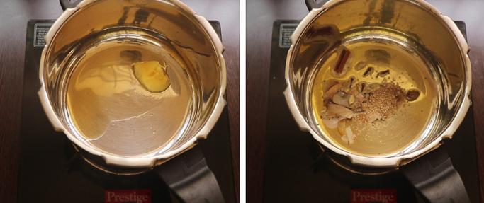 add the spices. pressure cooker biryani recipe