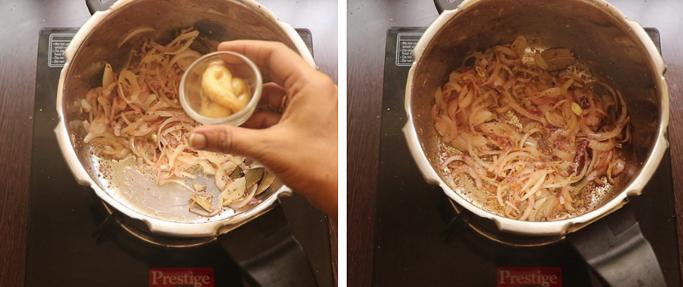 add gg paste . pressure cooker biryani recipe