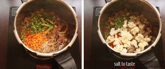 add vegetables. pressure cooker biryani recipe