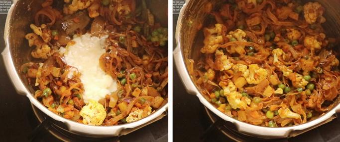 add curd . pressure cooker biryani recipe