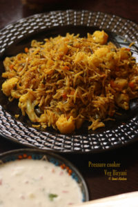. pressure cooker vegetable biryani recipe