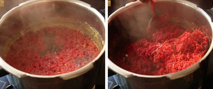 open and fluff it beet rice