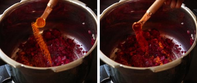 add spice powders beet rice