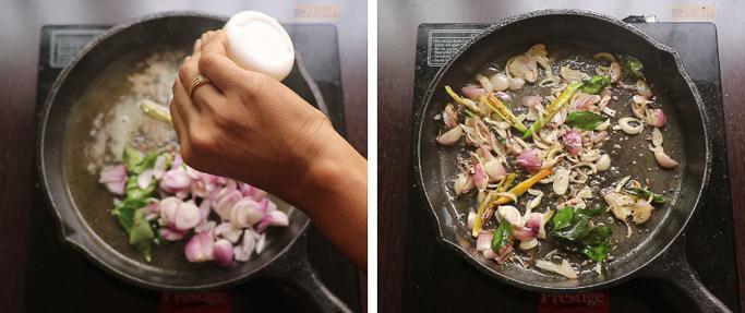 fry onions Cherupayar curry
