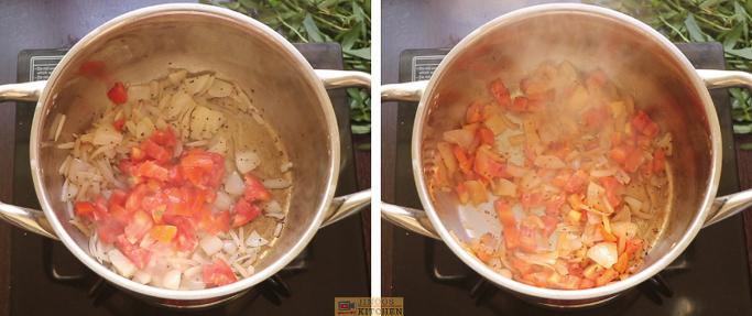fry tomatoes ponnanganni keerai sambar