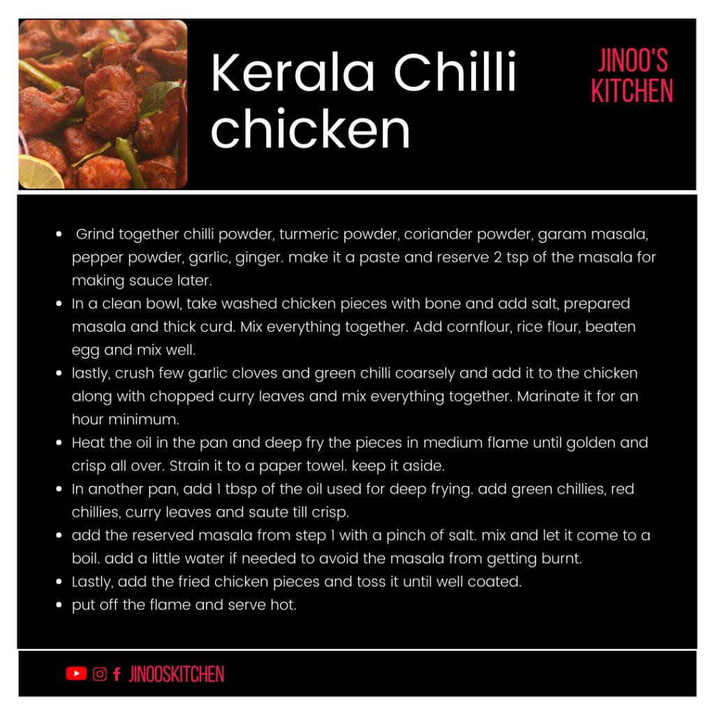 kerala chilli chicken recipe card