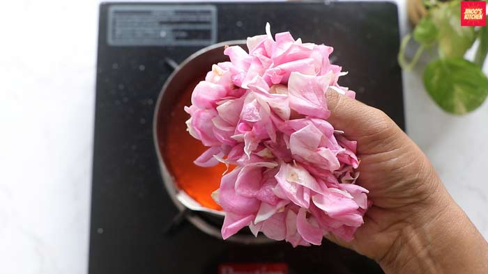 add fresh rose petals