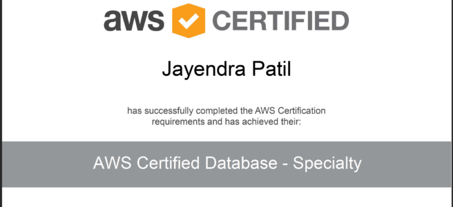 AWS Certified Database Specialty Certificate
