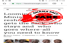 FAKE: Impending ministerial reshuffle