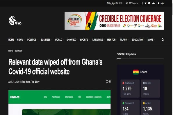 Fact-checked: Relevant information on Ghana's coronavirus official website wiped off?