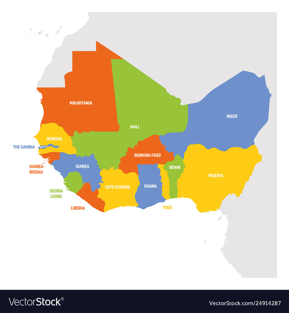 West Africa Region. Map of countries in western Africa. Vector illustration.
