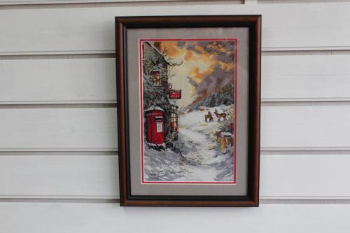 X-stitch winter scene with double mount.