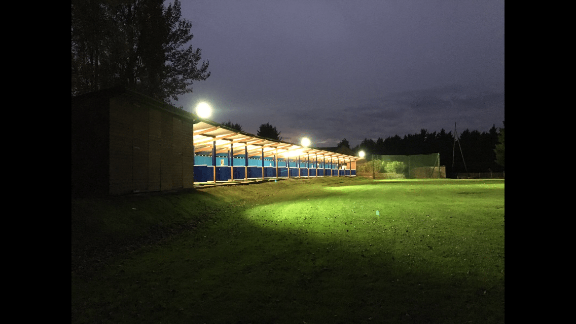 Floodlit Driving Range at Wexham Park Golf Centre in Buckinghamshire