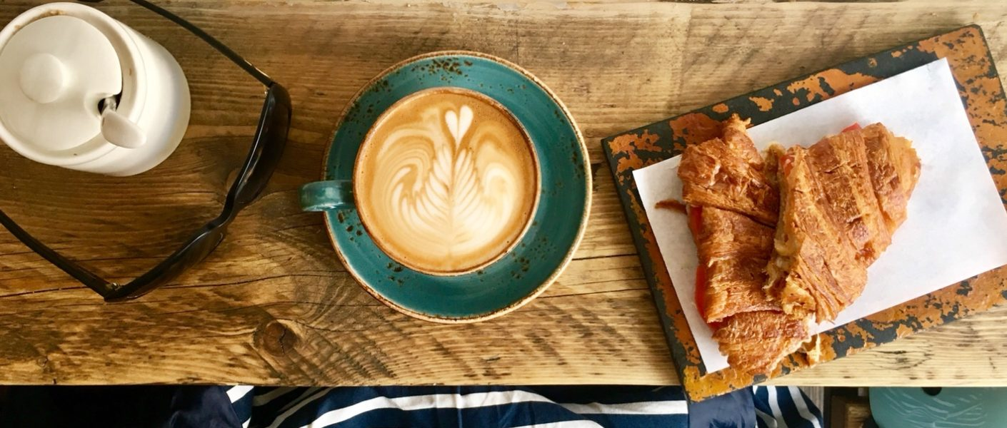 sugar bowl, coffee art, croissant