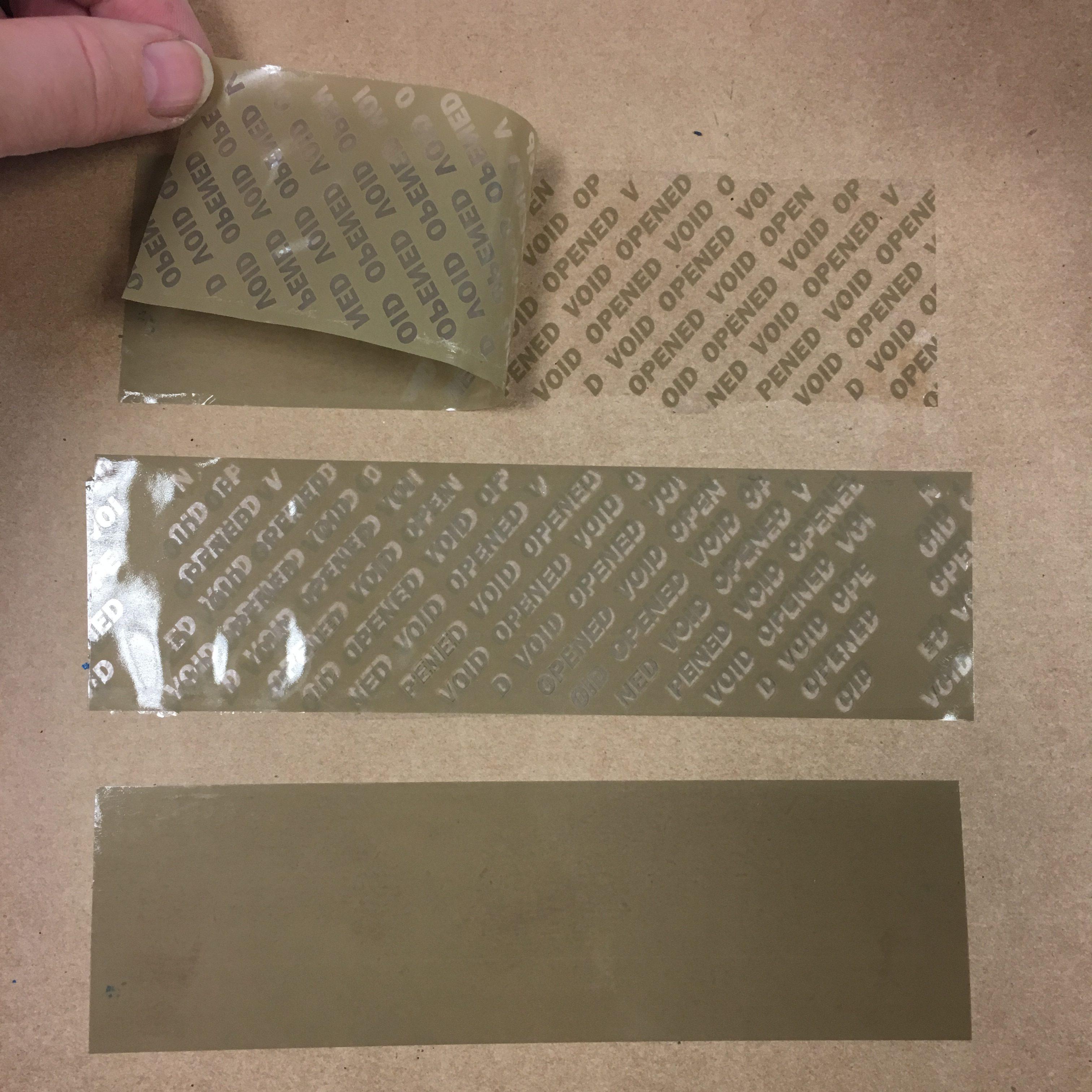 Brown, coverttamper evident tape DR121v4