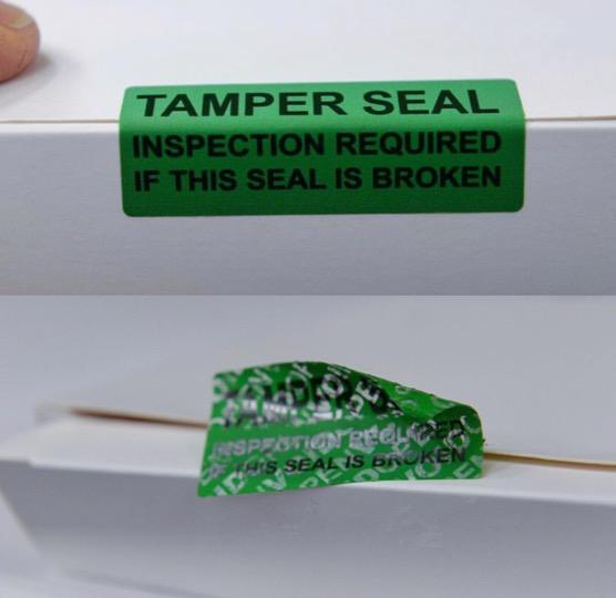 tamper evident label from Tamper Technologies