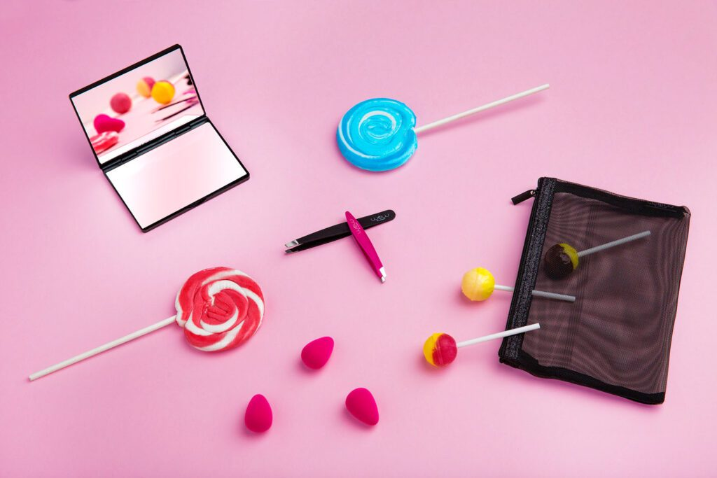 beauty product photography with lollipop candy