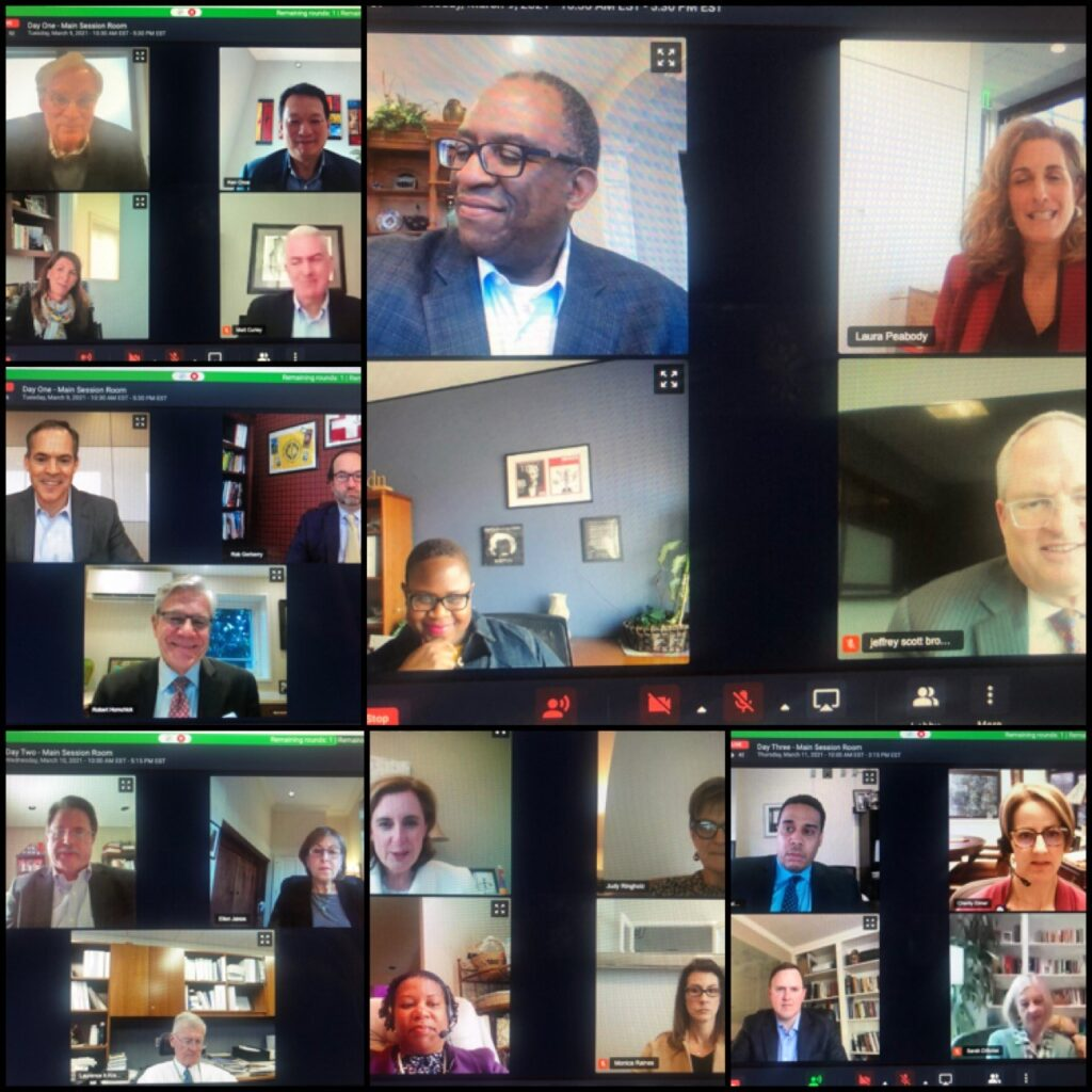 A collage of the speakers and attendees taking part in virtual Zoom meetings