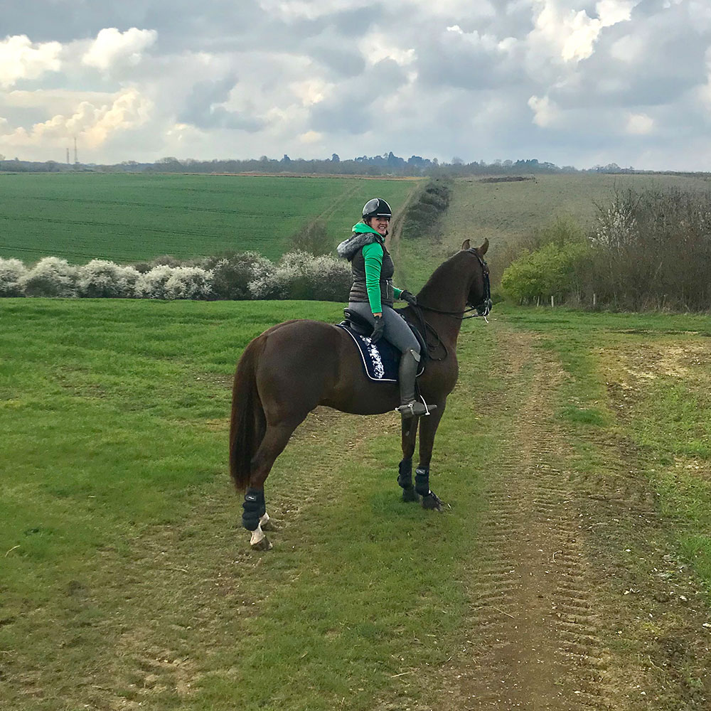 Bronte and Guess out hacking at Bronte Watson Dressage