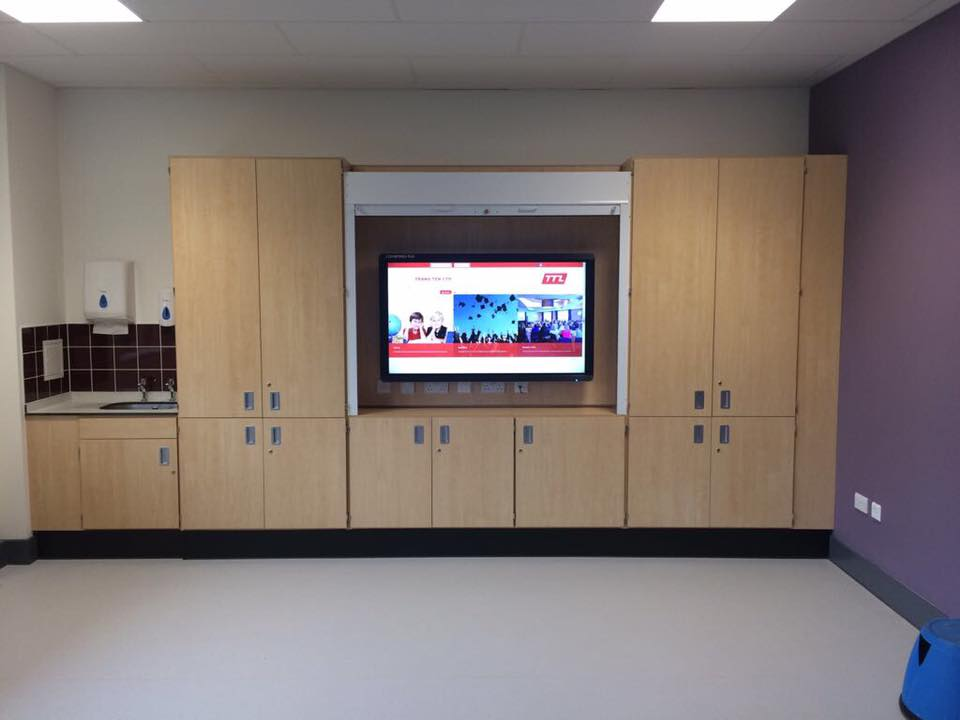Touchscreen in cabinet