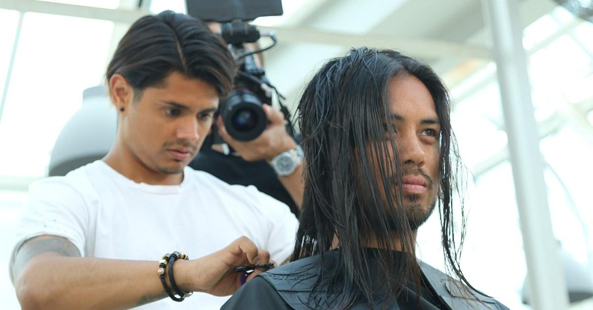 Cutting men's long hair