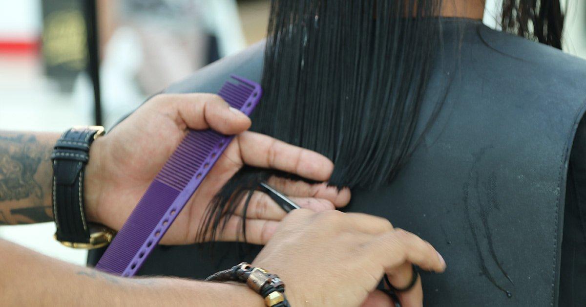 Cutting long hair men