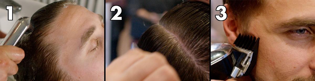 Wash, comb and divide, trim a gradient