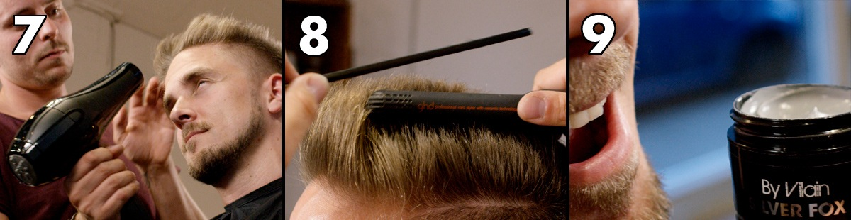 Blow-dry the hair, straighten the hair with a flat iron, style with By Vilain Silver Fox