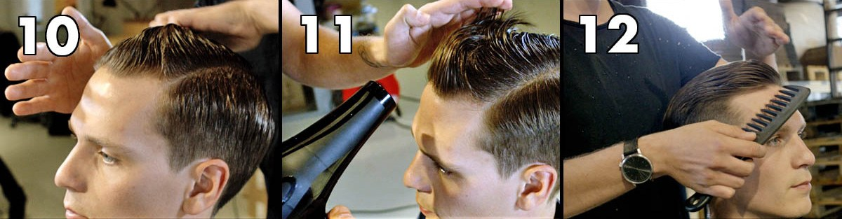 Style with a glossy pomade, blow-dry the product into the hair, style with a comb