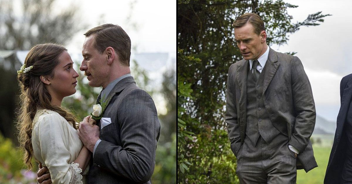 Micheal Fassbender as Tom Sherbourne and Alicia Vikander in The Lights Between Oceans