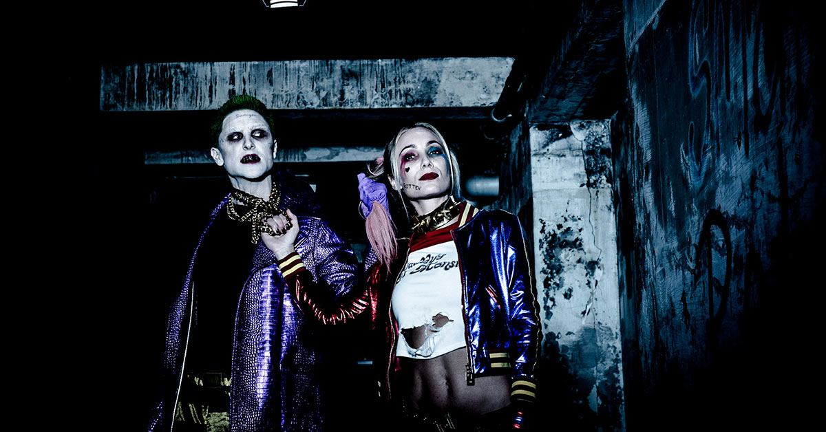 The Joker and Harley Quinn in a dark tunnel