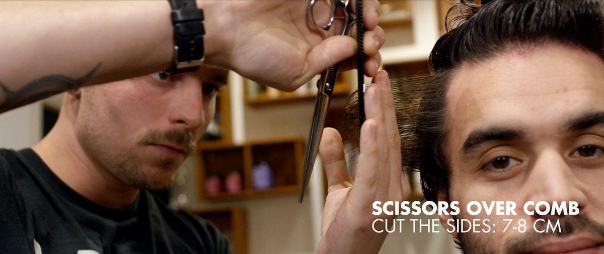 Scissors over comb cut the sides