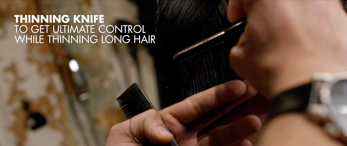 Thinning hair with a thinning knife