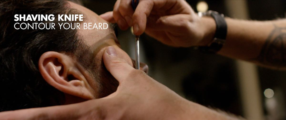 Contouring the beard with a shaving knife