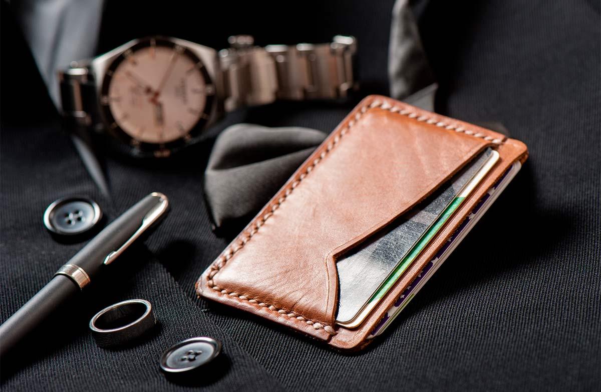 Brown leather cardholder