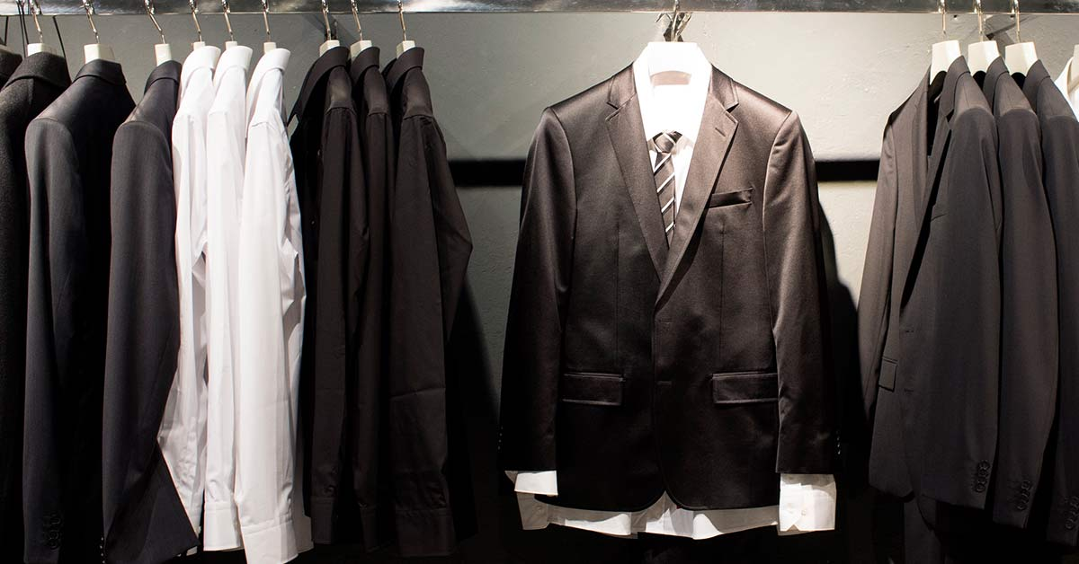Suits in a closet